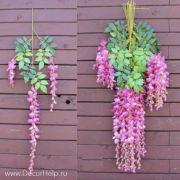 глициния розовая, искусственные текстильные цветы для свадебного декора